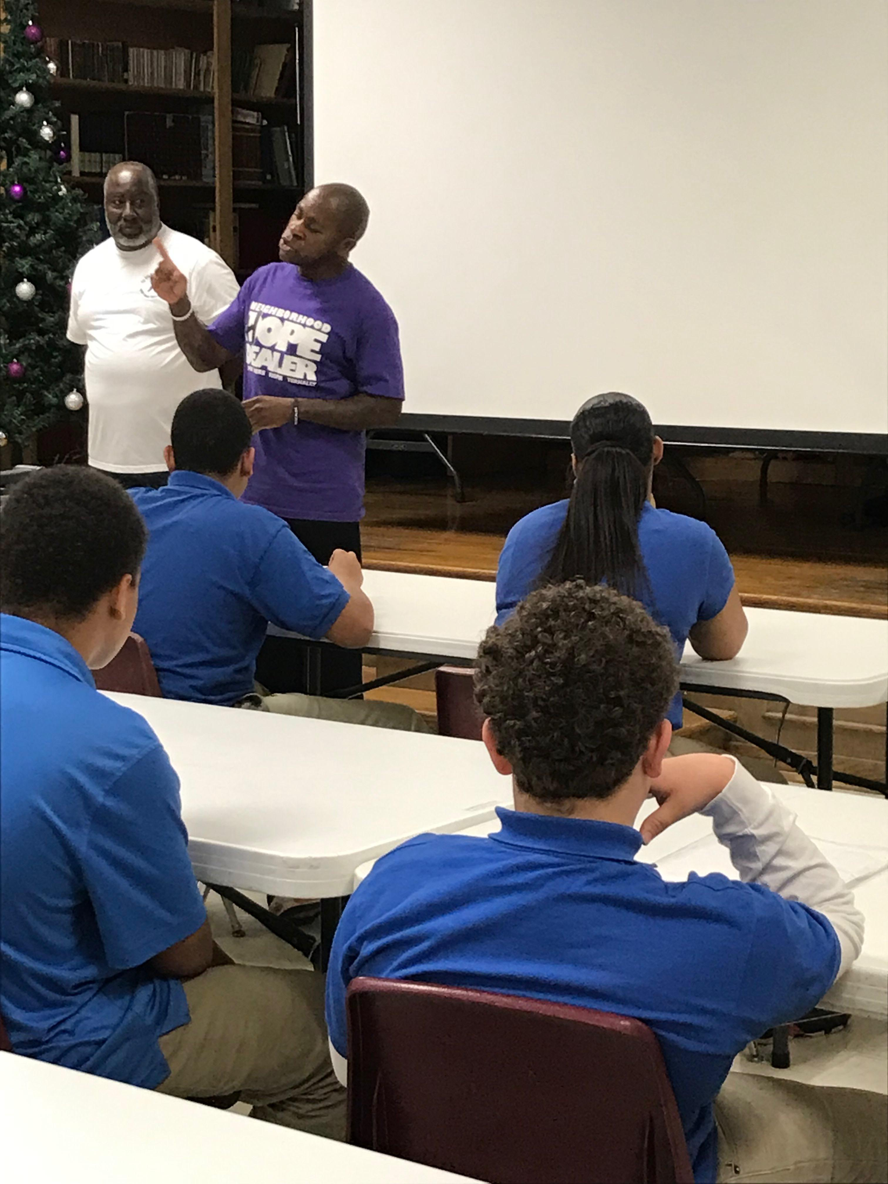 Mr. Byron Sago 1st Sergeant, retired spoke with students about leadership vs following.