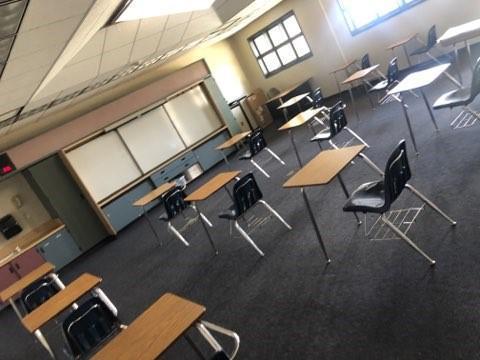 Classroom showing social distancing protocol