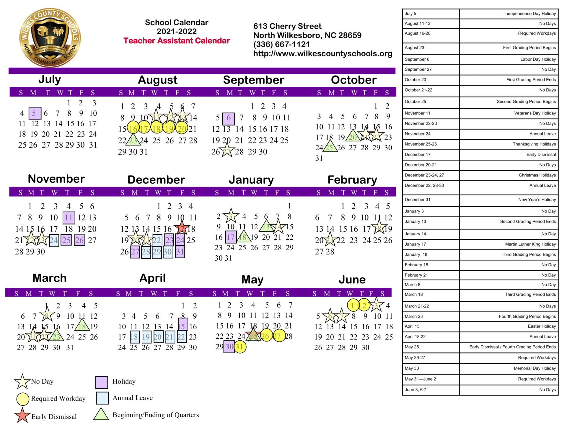 2021-2022 Teacher Assistant Calendar (for the upcoming school year)