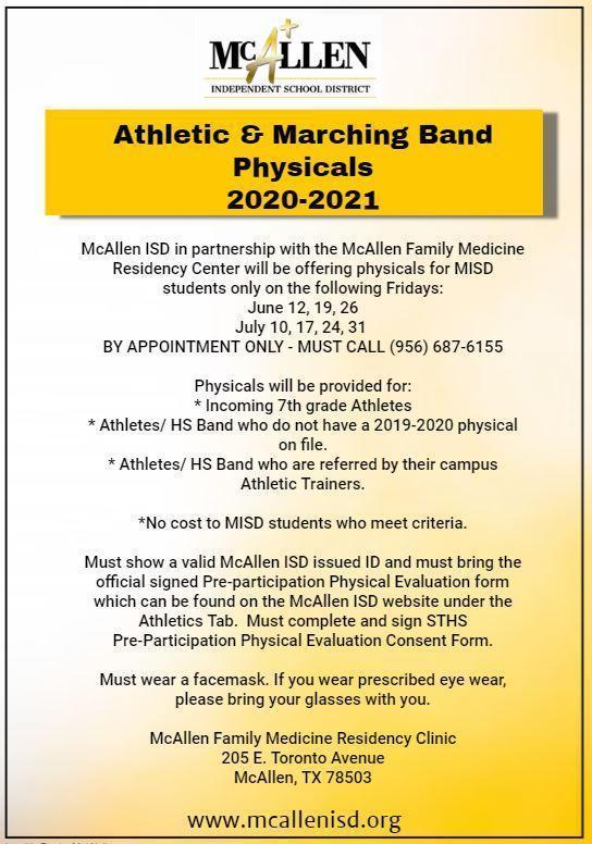 Athletic & Marching Band Physicals 2020-2021