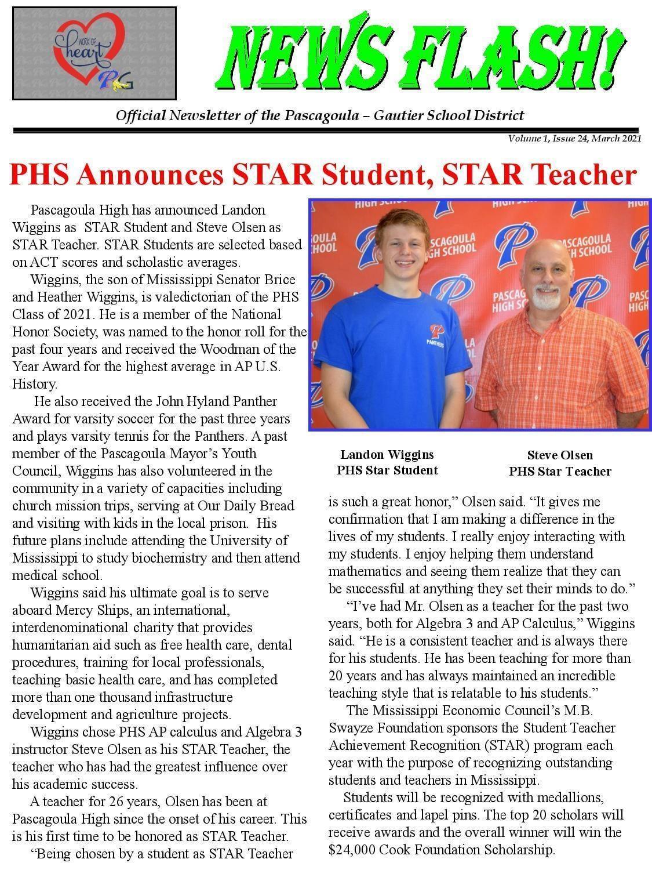 PHS Announces Star Student, Star Teacher