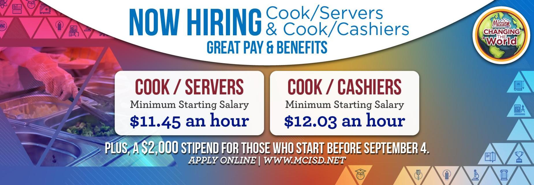 Now hiring graphic for cooks and servers