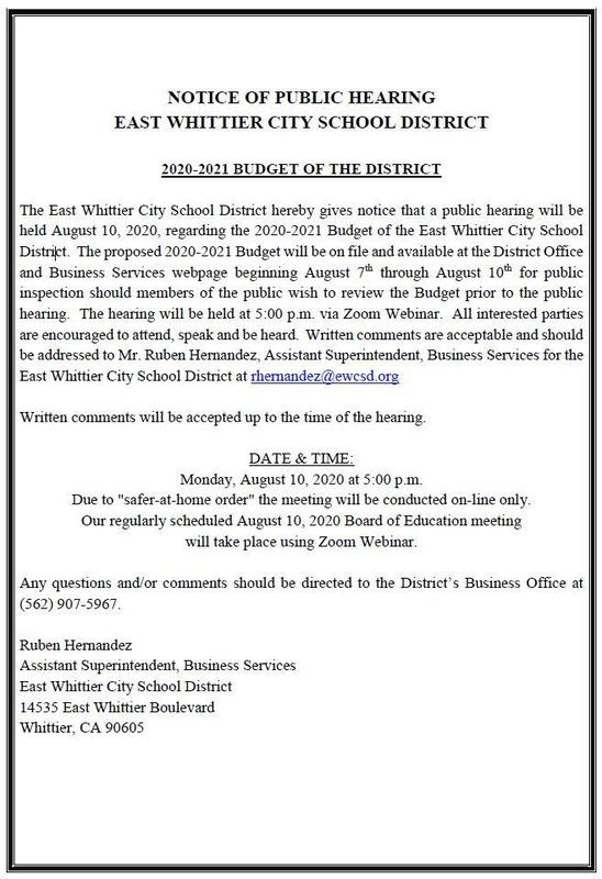 Screenshot of the public hearing notice for August 10, 2020