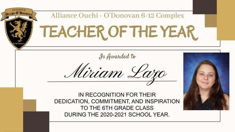 Teachers of the Year for the 20-21 school year Thumbnail Image