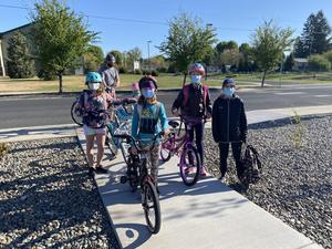 Students biking to school