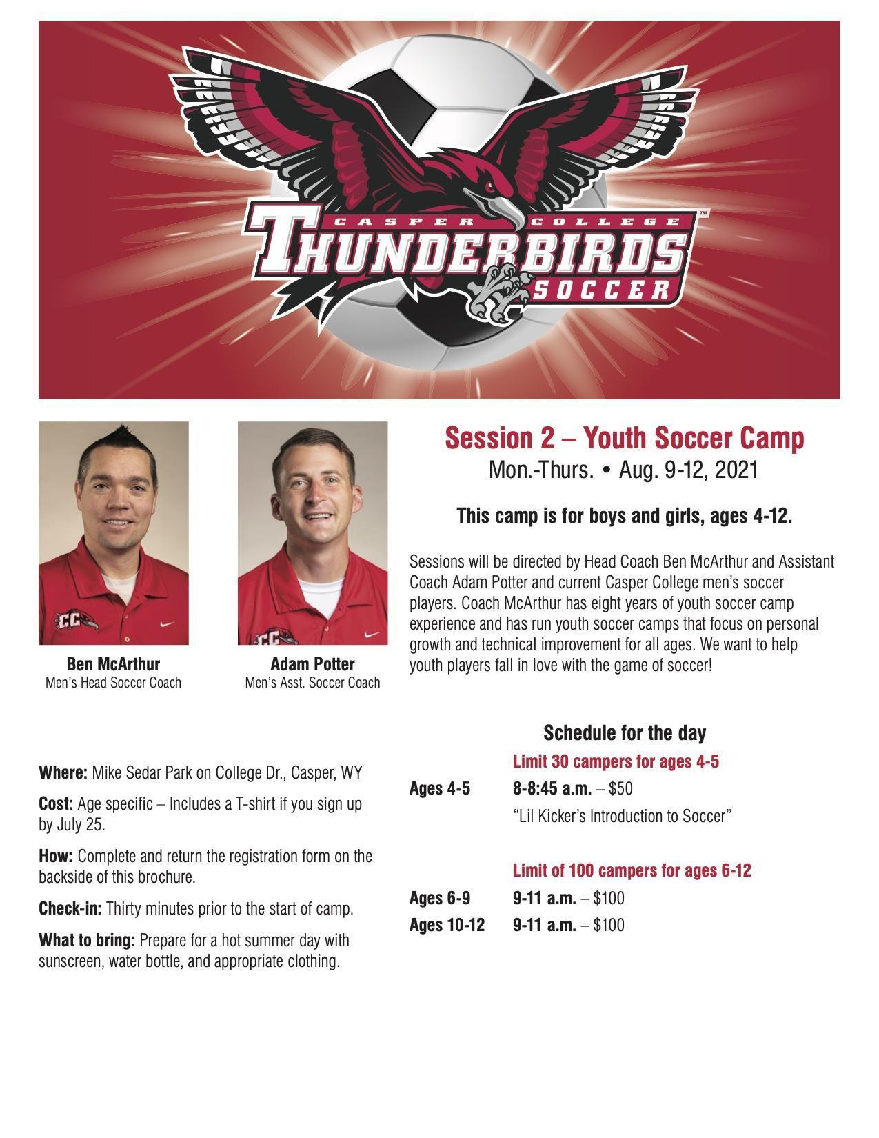 Casper College youth soccer camp flyer