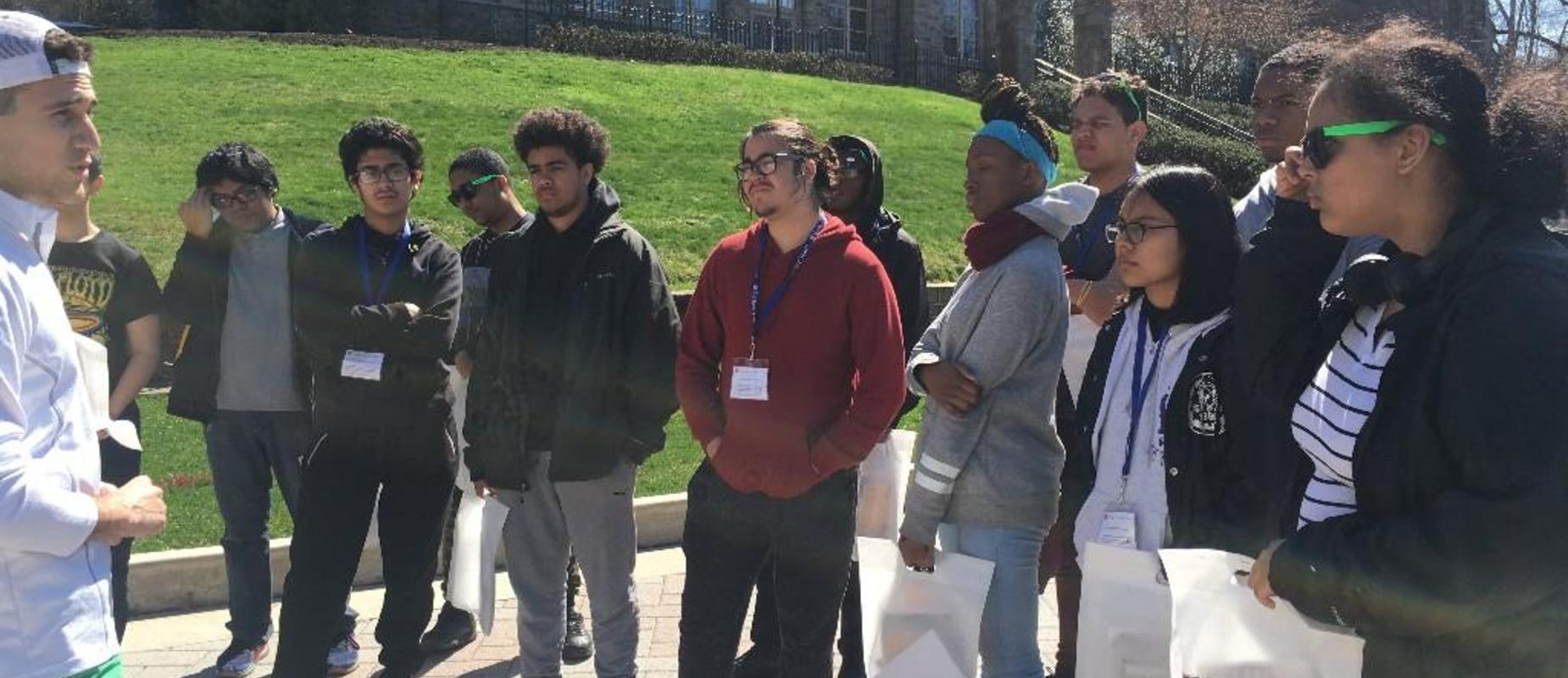 Rising Seniors on a campus tour of Lehigh University