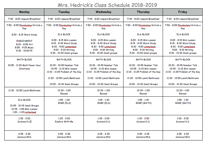 Class Schedule for 2018-2019