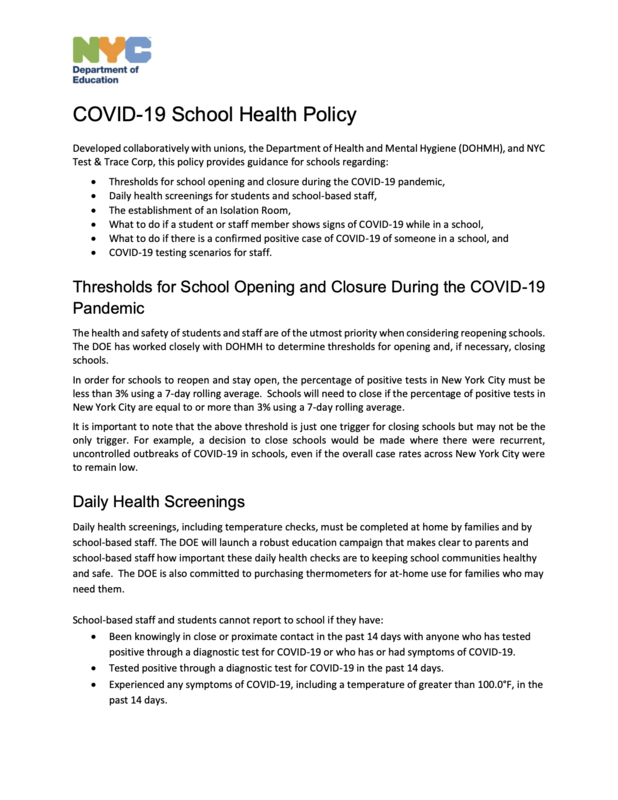 Covid 19 School Health Policy