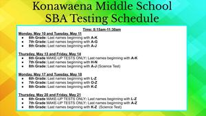 green and yellow colored background and information regarding the SBA and iReady testing schedule
