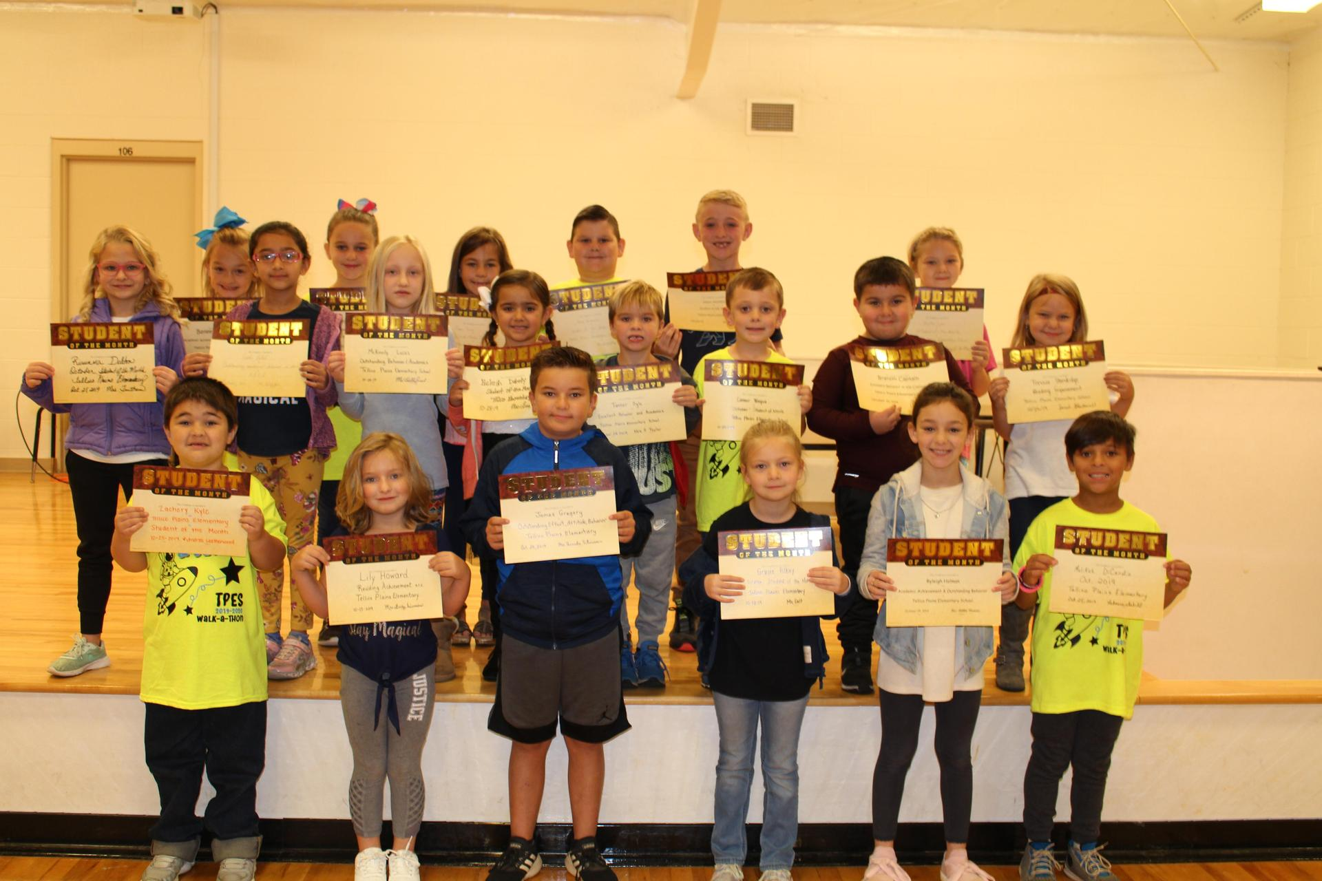 Picture of October 2019 Student of the Month recipients