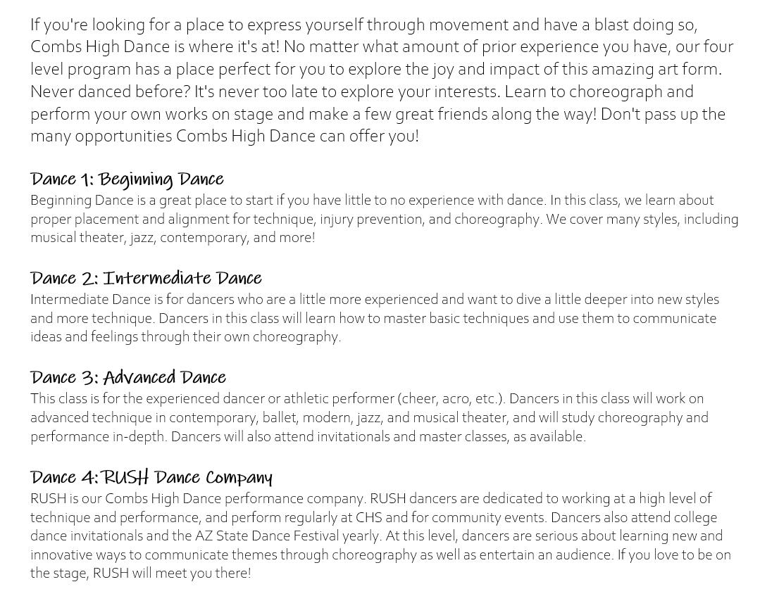 Dance Class Level Descriptions