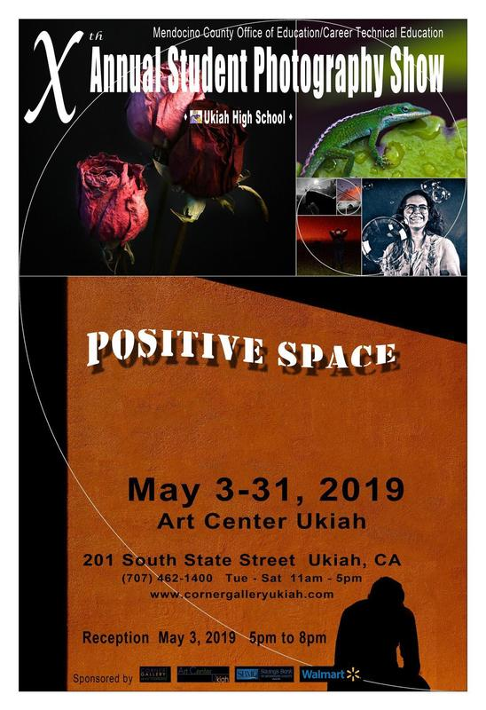 Positive Space Photography Show Poster with samples of several of the photos in a collage on the top.