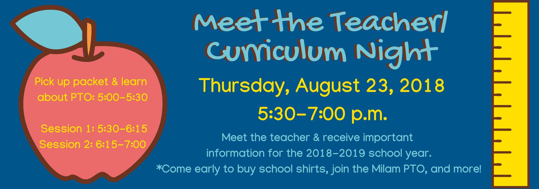 Revised Meet the Teacher Night Information