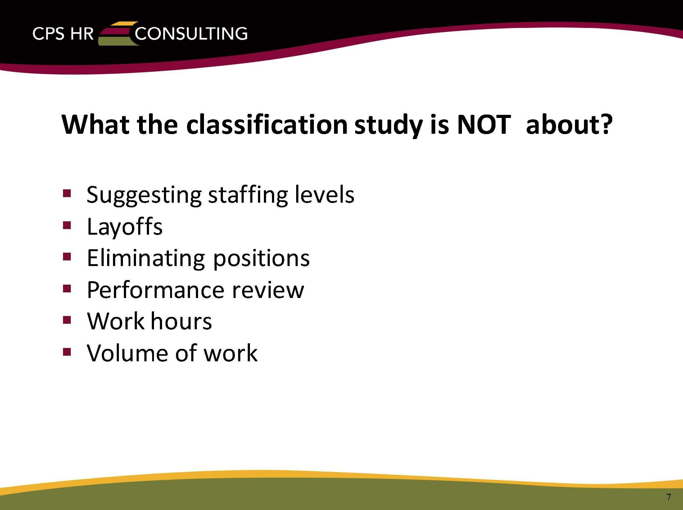 Classification & Total Compensation Study – Human Resources