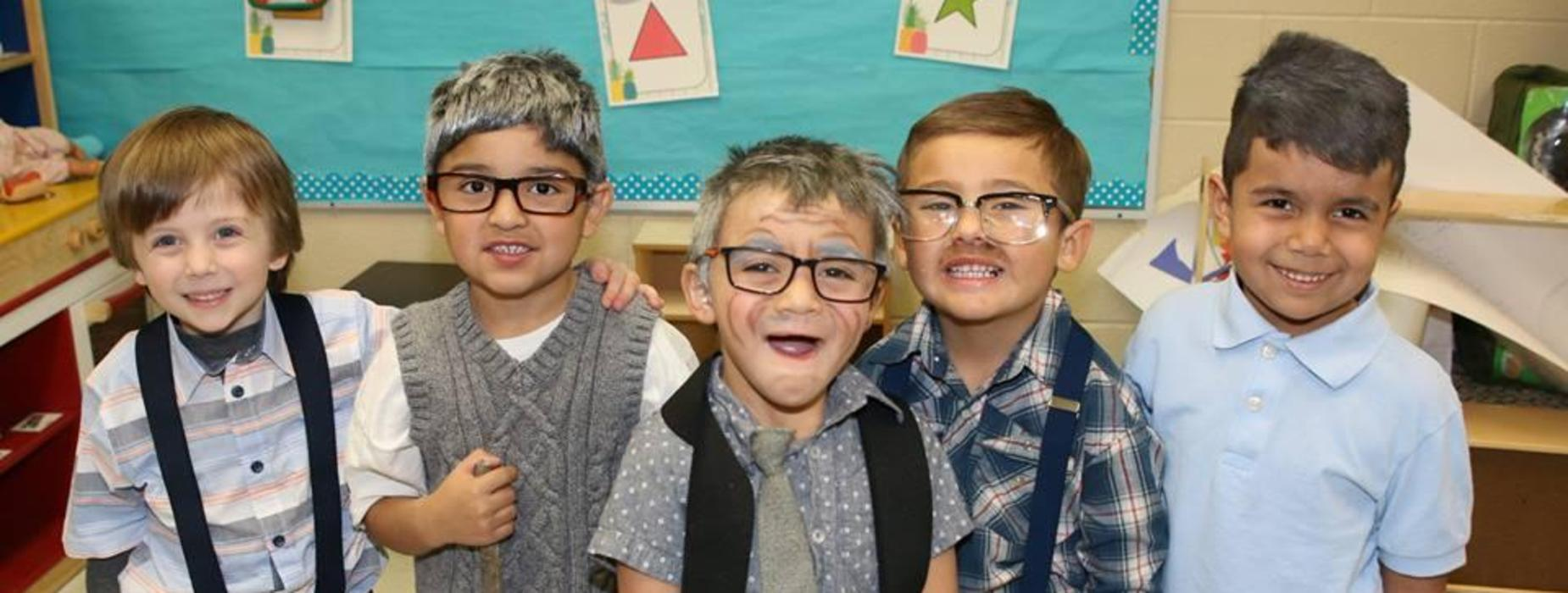 Students dressed like they are 100 years old