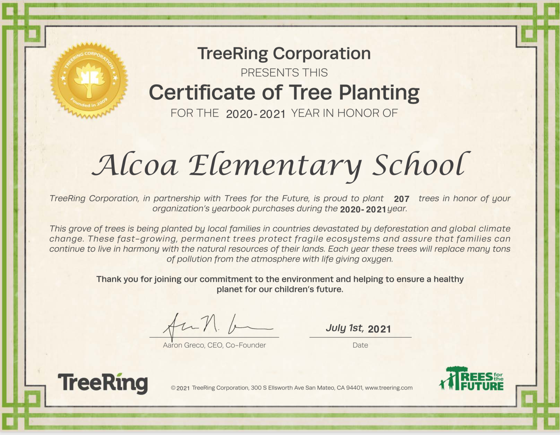 Trees Planted for Yearbooks