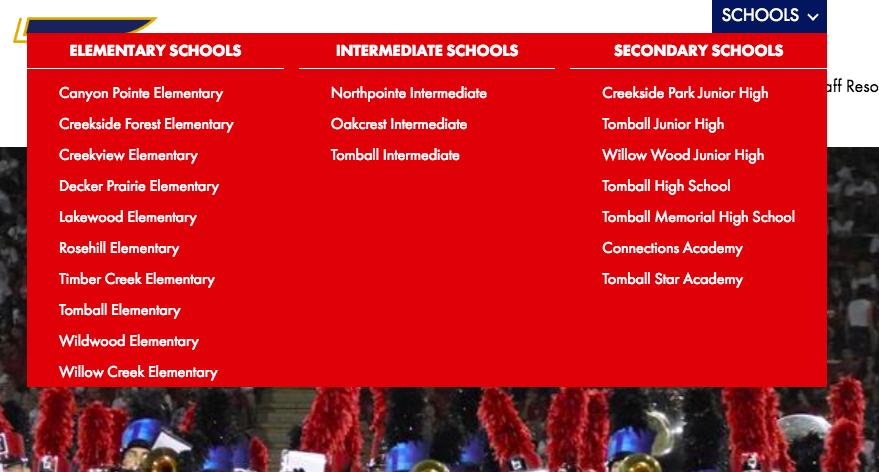screenshot of school mega-menu