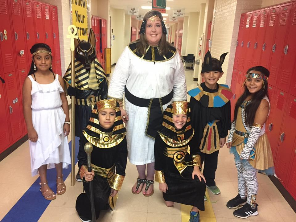 4th grade teacher and students on Character Parade Day