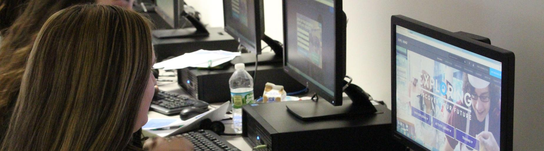 student at pc looking at exploring their future