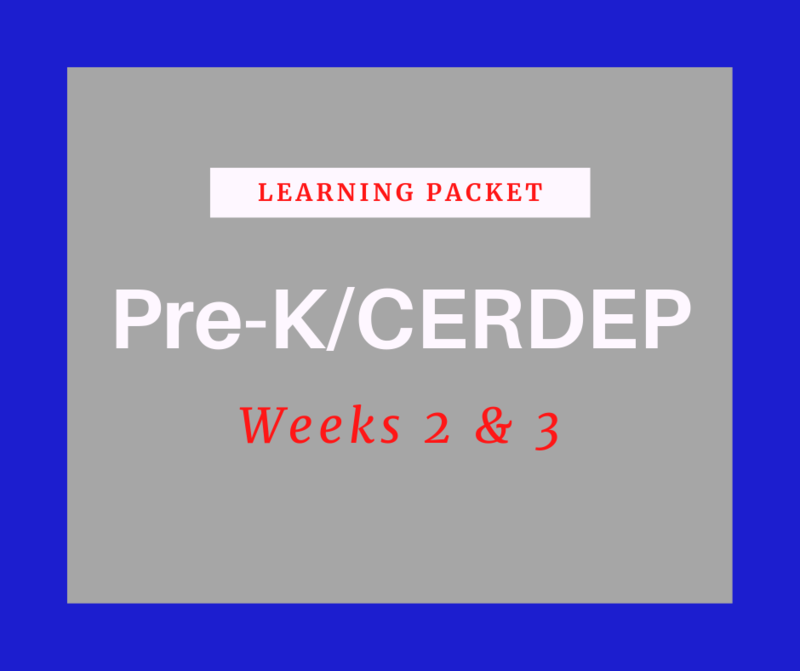 Pre-K/CERDEP Learning Packet Featured Photo