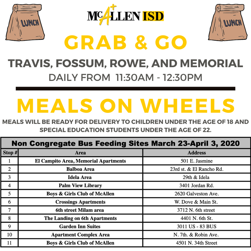 Grab and Go Meals McALlen ISD