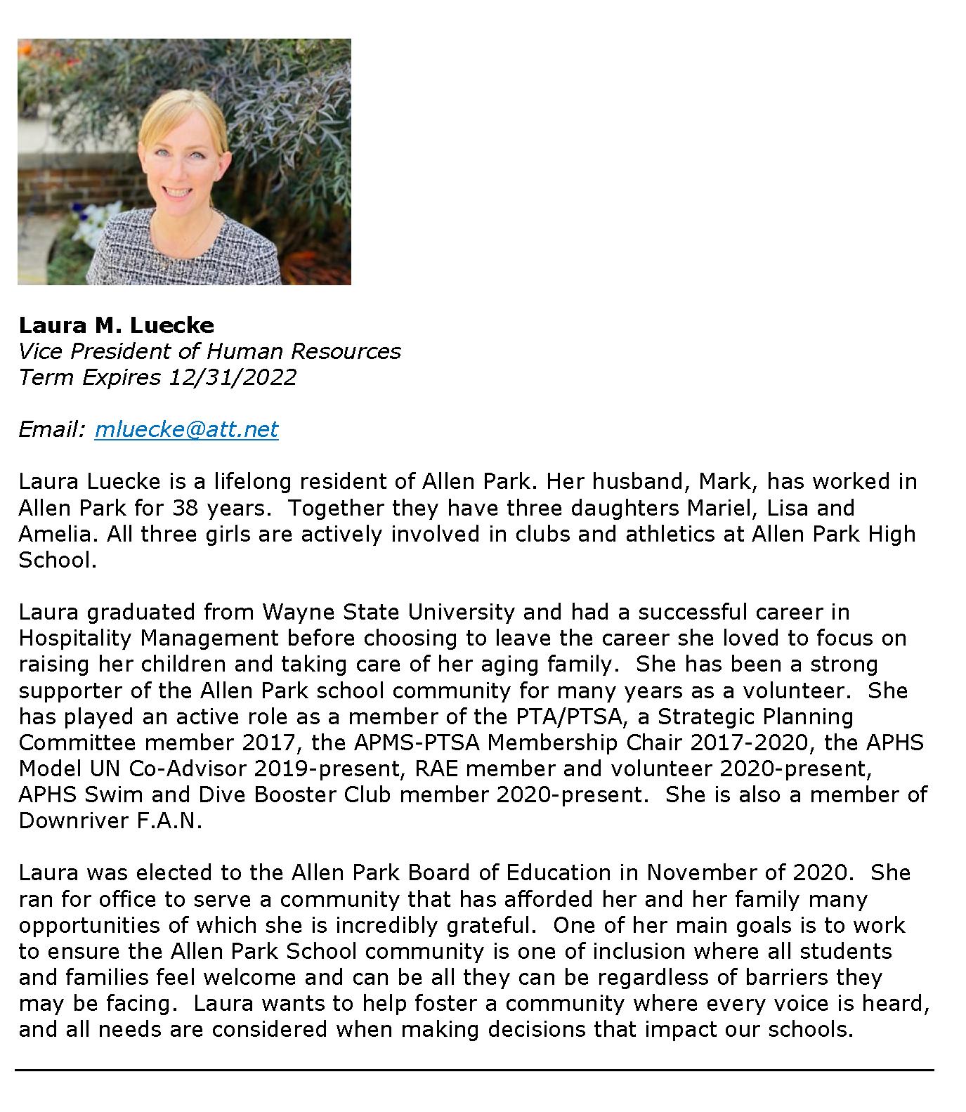 Board of Education Members -  Luecke