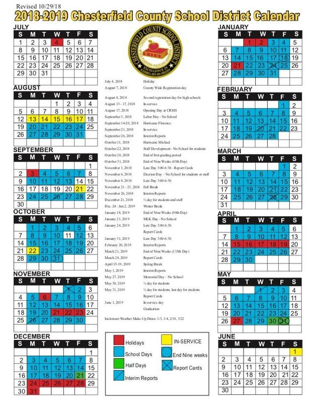Updated 2018-2019 School Calendar Featured Photo