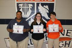Beau Chene High School PBIS Outstanding Gators for the 2nd nine week reporting period, Gregory N.; Haili P.; and Trey W.