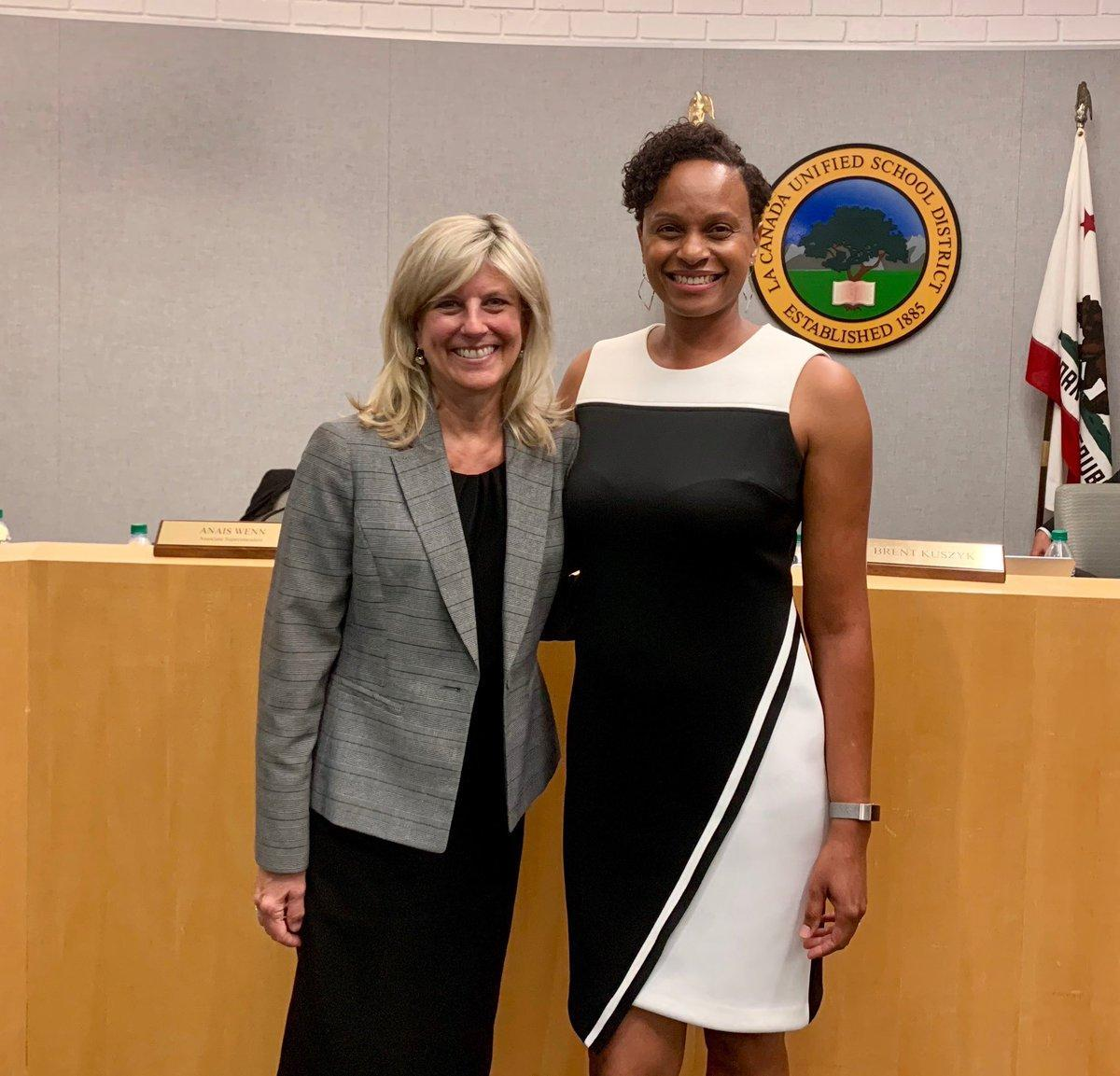 Wendy and Christina posing for a group photo at LCUSD Governing Board Meeting