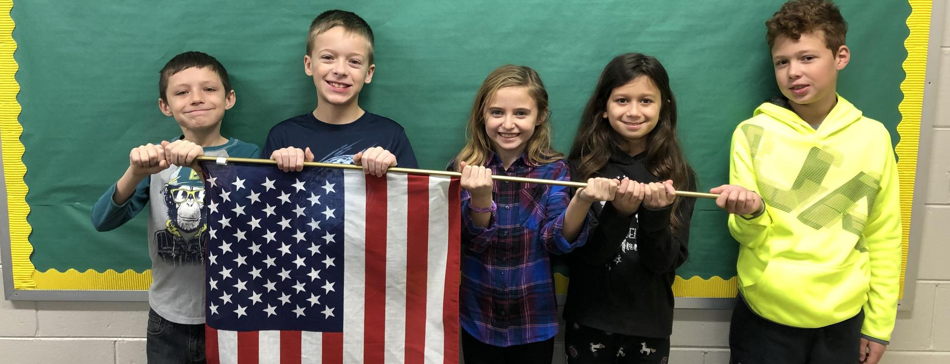 CCIS group with American Flag