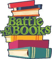 Battle of the Books word with books in color underneath cartoonlike