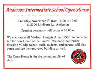 AIS Open House flyer for November 2, 2019, 10:00 a.m.