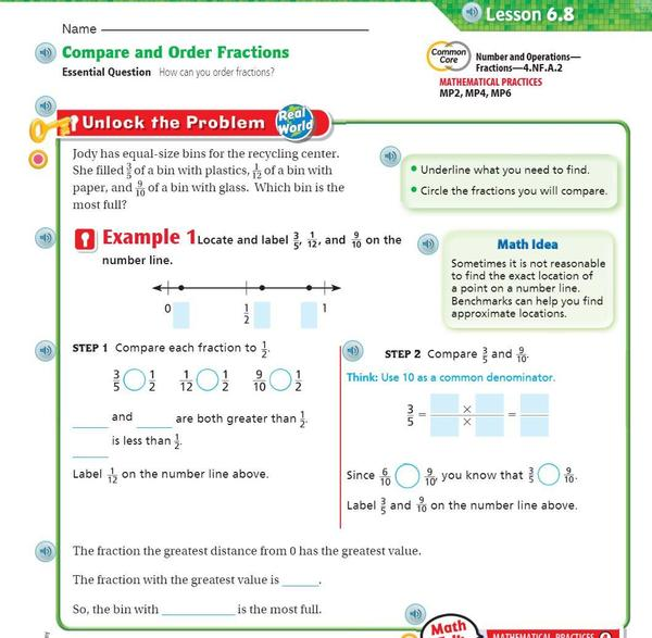 p. 371 Order and Compare fractions on numberline.JPG