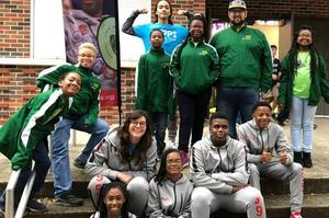 Scholars from KCCA, KBTW, and KIPP Morial pose at the state LEGO League competition