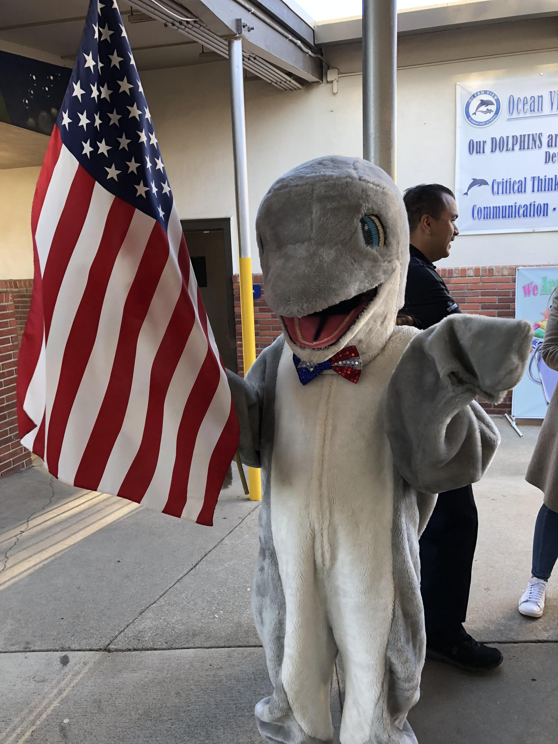 A dolphin mascot holding the American Flag.