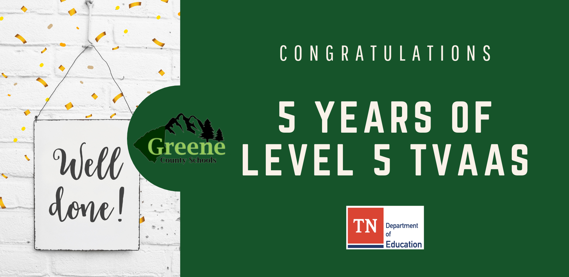 GCS Achieves Level 5 TVAAS scores for the fifth consecutive year.