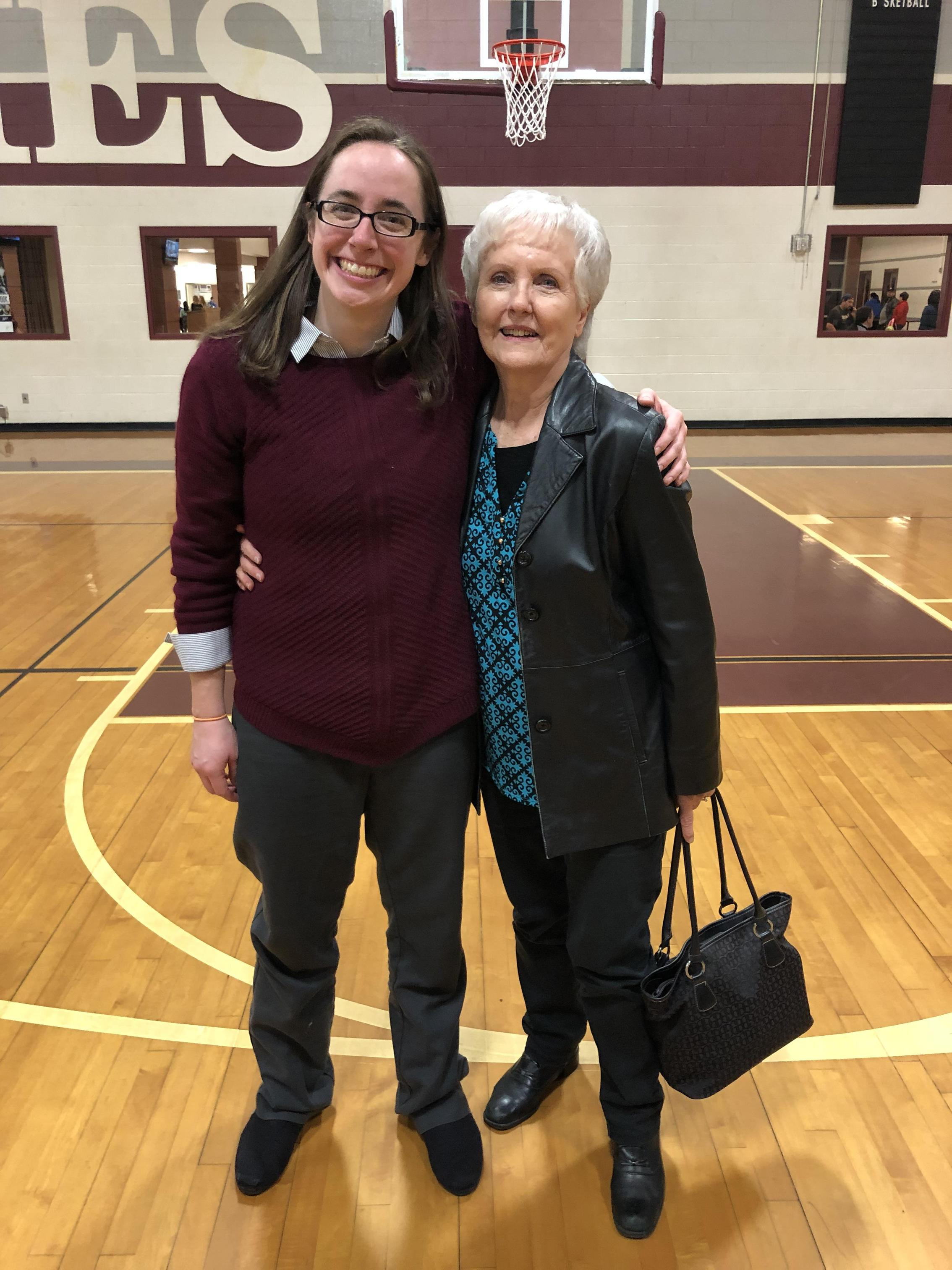 My Grandmother and me after a basketball game