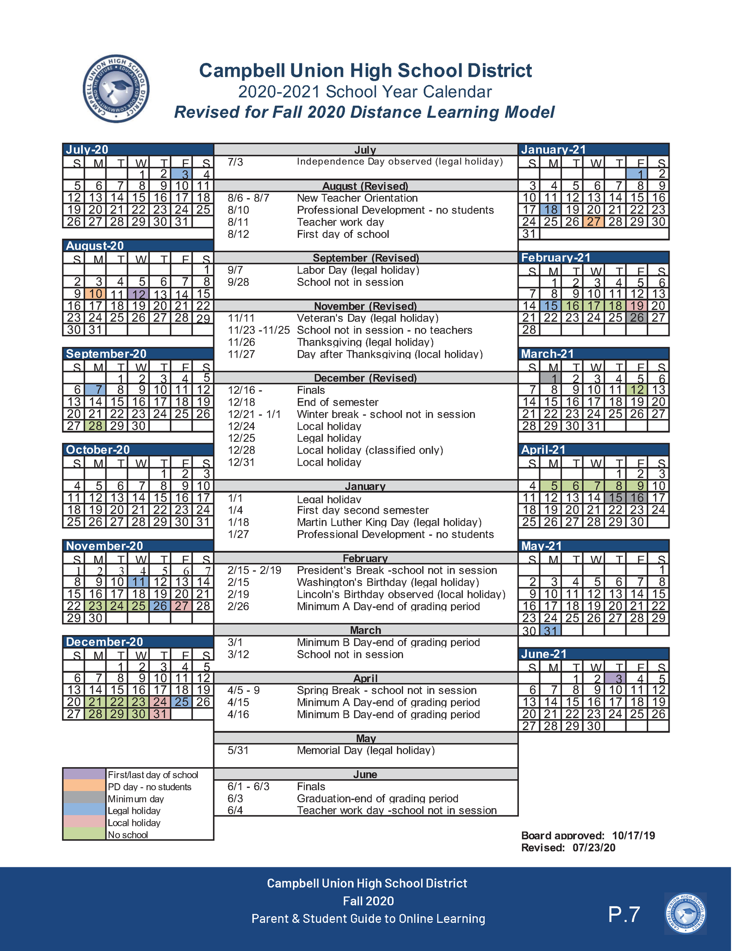 image of 2020-21 cuhsd revised academic calendar