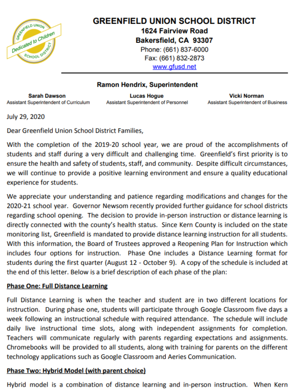 Parent Letter from Superintendent Thumbnail Image