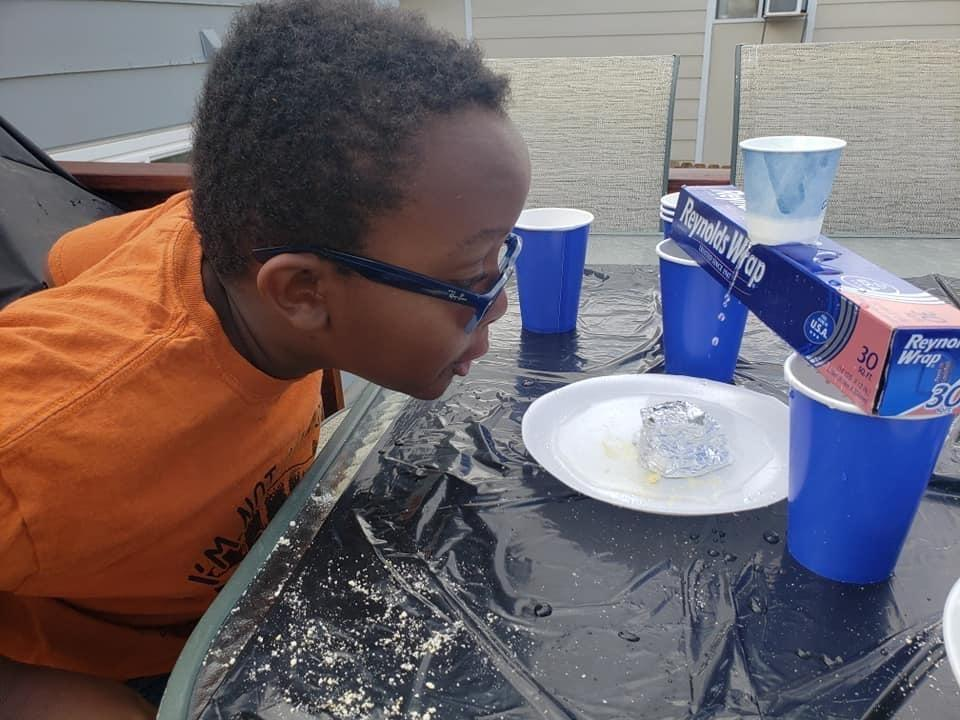 A student works on a science project at home