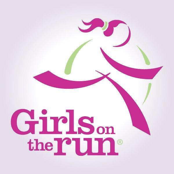 Pink silhouette girl running on top of girls on the run words