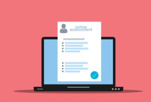 Laptop showing online assessment