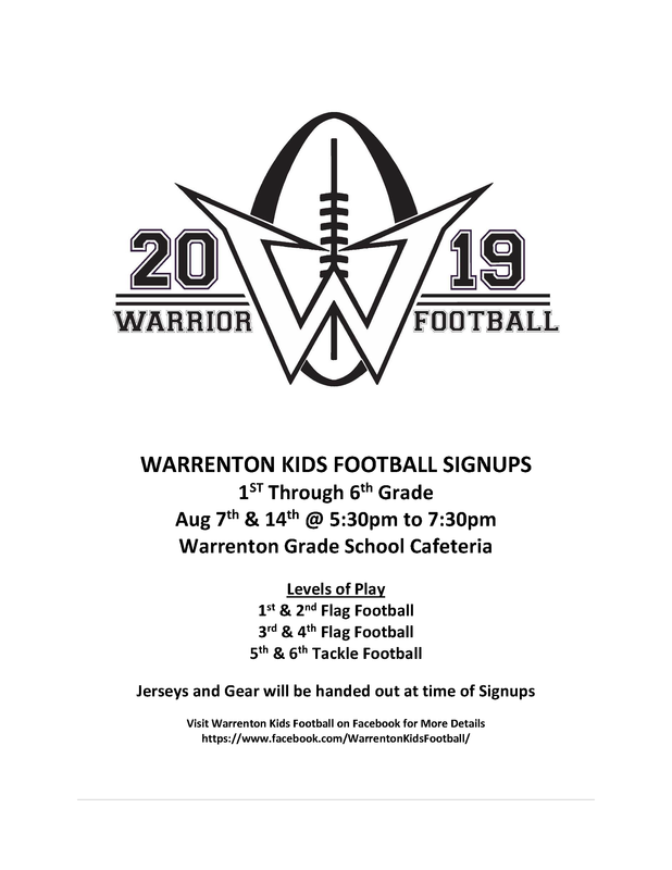 Warrenton Youth Football Signups Featured Photo