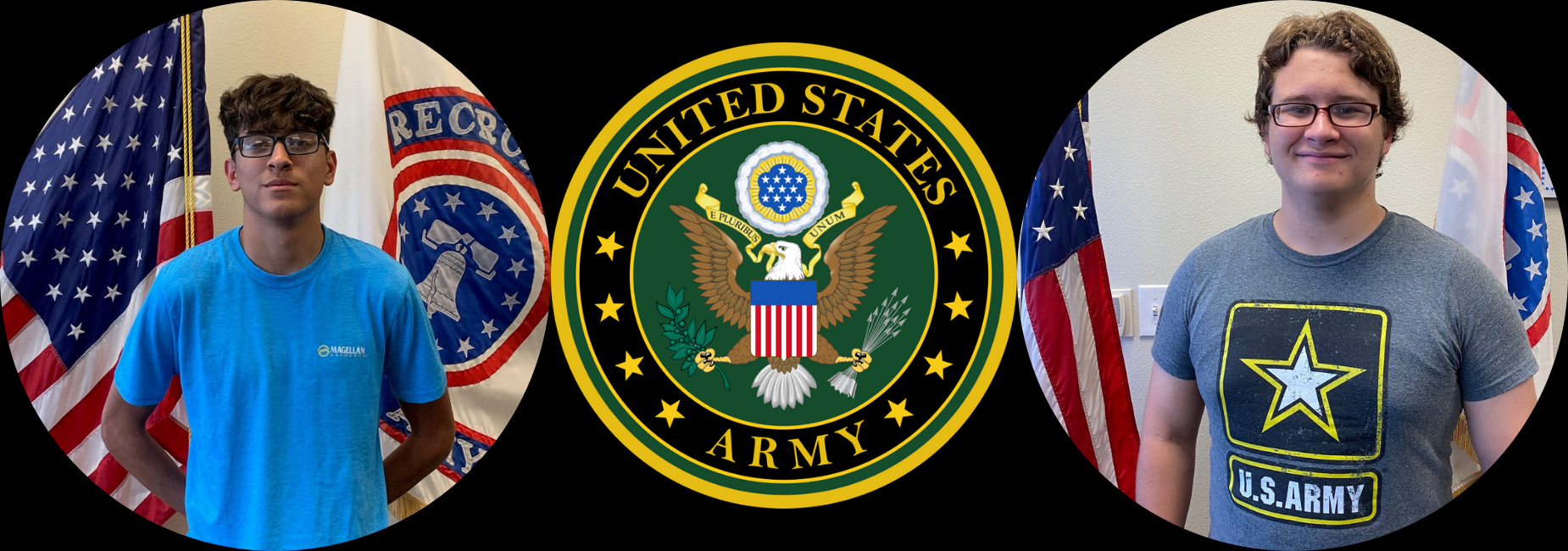 pictures of 2 young men in front of the american flag and the US Army logo