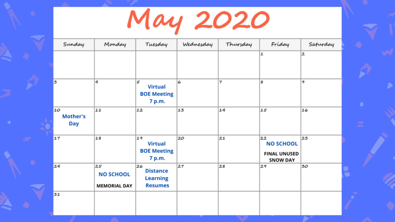 Photo of May 2020 calendar