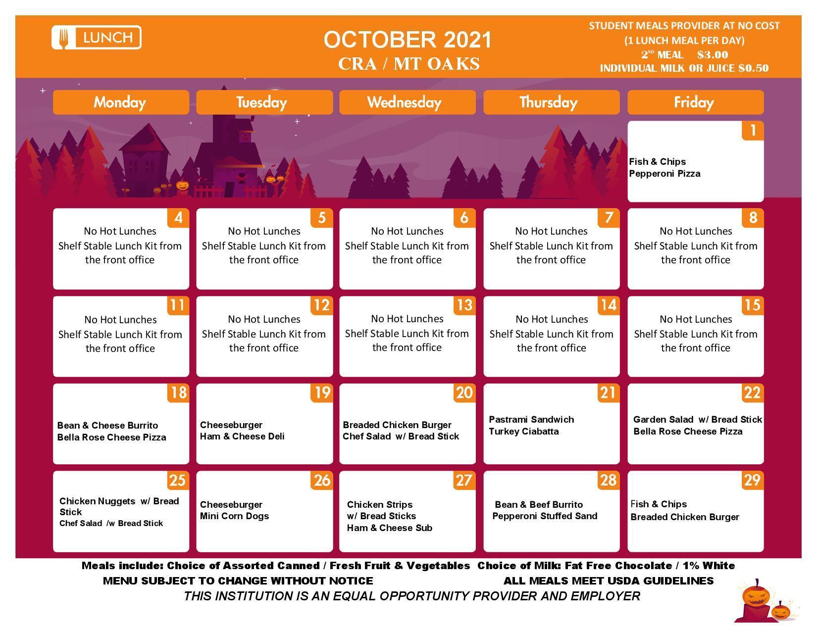 Lunch Calendar - October