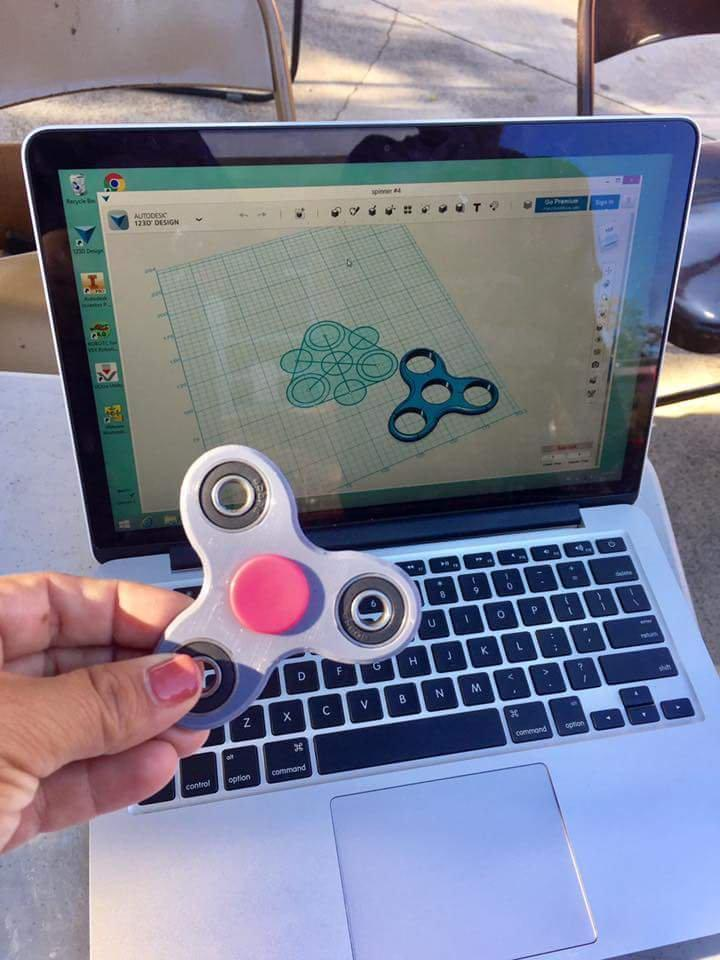 Here is a fidget spinner designed using C.A.D. software and then 3d printed at Fedde's 3d printer lab