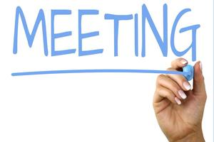meeting written in blue marker