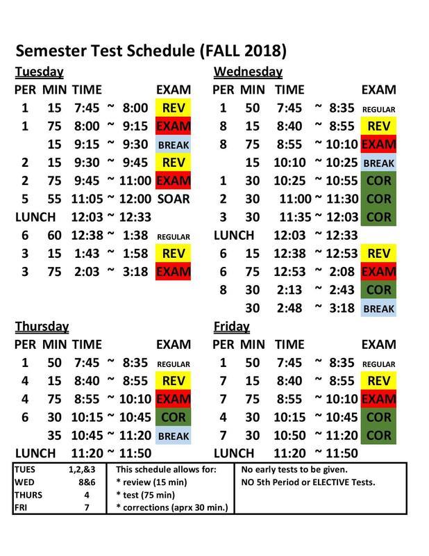 Fall 2018 Semester Test Schedule Featured Photo